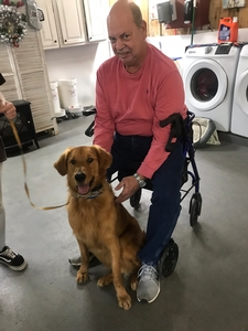 Helping an owner with his asistance dog